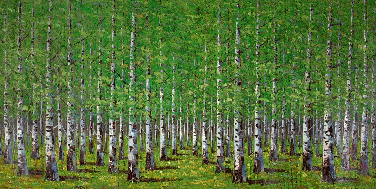 Green Trees IV by inam -  sized 60x30 inches. Available from Whitewall Galleries